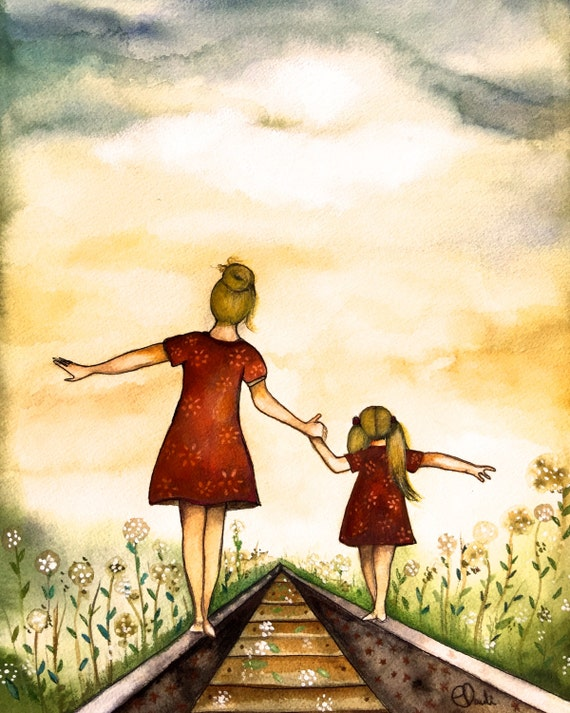 "Blonde Mother and daughter ""our path"" art print"