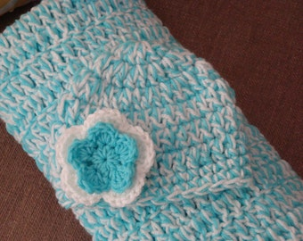 Turquoise and White Gift Set: Baby Turquoise and White Crochet Blanket with Matching Hat