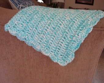 Crochet Baby Blanket in Turquoise and White