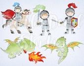 Cute Knights Clip art, Digital Dragons, Boys Clipart, Watercolor Knight Dragon Art, Medival Illustration, Commercial use, PNG file - 300 dpi