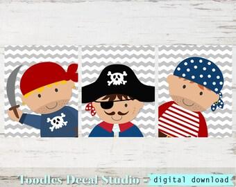 Pirate Printable for Boys Bedroom, 3 Pirate Digital Download, Pirate Wall Art Prints, Nursery Pirate Wall Art, Instant Download, Nursery Art
