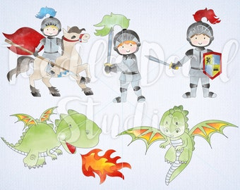 Cute Knights Clip art, Digital Dragons, Boy Clipart, Watercolor Knight Dragon Art, Medieval Illustration, Commercial use, PNG file - 300 dpi