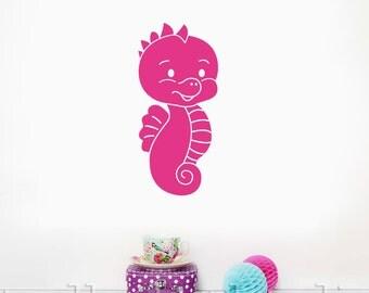 Cute Seahorse Wall Decal, Vinyl Seahorse Decal, Girls Bathroom Art, Single Seahorse Decal, Seahorse Decal, Seahorse Wall Art, Nursery Ocean