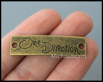 BULK 25 One DIRECTION Charm Connectors - 39mm Sideways Curved Rectangle Word Message Metal Antiqued Bronze Link - Instant Ship - USA - 6402