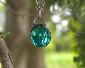 Marble ...necklace vintage antique glass light aqua blue circle mystical charm enchanted faerie bohemian gypsy repurposed vintage charm