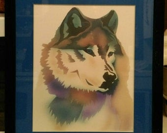 Colorful airbrushed wolf