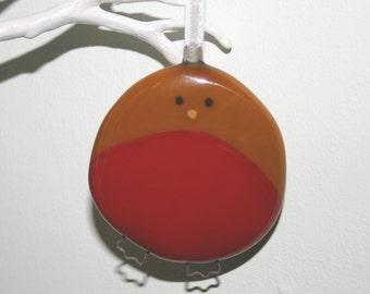 Handmade Fused Glass Robin Christmas Decoration
