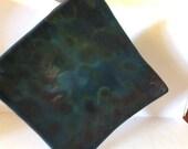 Dark Sky Set - Plate with Teabag Rest Decorative Dish Fused Glass Transparent Plate