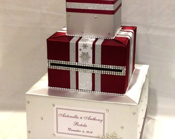 White and Burgundy Winter theme Wedding Card Box-Snowflakes-Rhinestones