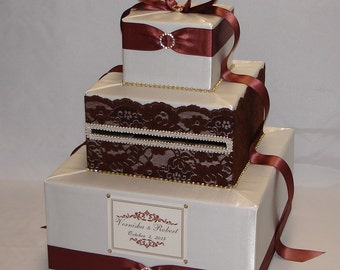 Ivory and Brown Lace Weddign Card box-Gold Rhinestones