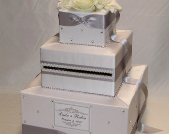 White and Silver Card Box-Silk Flower Topper, Rhinestones