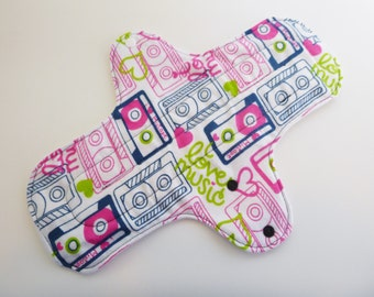 12 inch cloth pad - cloth menstrual pad - mama pad - heavy flow pad - plus size pad - pink retro cassette tape flannel top - ready to ship