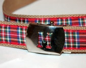 Plaid Initial Belt Boys Plaid Belt Girls Plaid Belt Tartan Plaid Belt Royal Stewart Plaid Belt Cinch Belt Letter Belt Buckle Belt Adult Belt