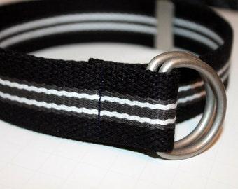 Black Striped D Ring Belt Kids Sizes Kids Webbing Belt Black Canvas Belt Boys Webbing Belt School Belt Children's Webbing Belt Grey Stripe