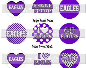 INSTANT DOWNLOAD Purple  white Eagles School Mascot 1 inch circle Bottlecap Images