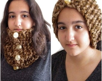 Handmade Woman's Chunky Buttoned Cowl Neck Warmer Scarf in Brown with Marbled and Cream Big Buttoned