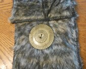 Faux Gray Wolf Fur Pouch or Bag-Costume Bag for Medieval/Ren Faire/CosPlay/RP Character-Over Belt or Hand Held Fur Costume Bag Accessory