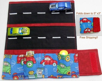 Fire Trucks.Cars and Train Print fabric Car Wallet/ Car roll up/Toy car holder/ Free Shipping/ Ready to ship.