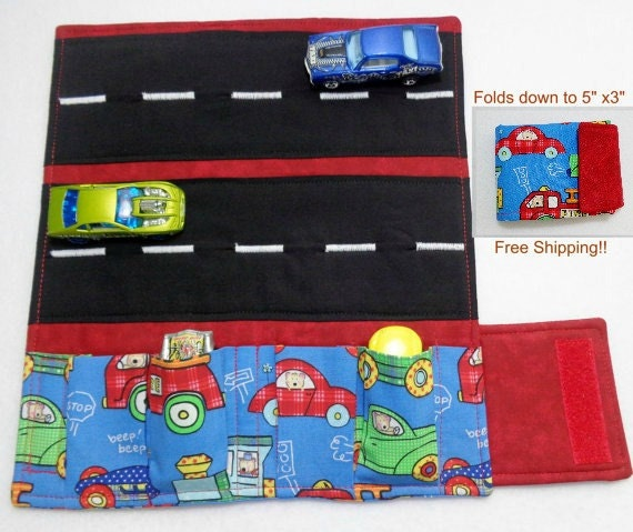 Fabric Roads For Toy Cars : Fire trucks rs and train print fabric car wallet roll