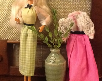 Vintage Barbie Doll Dresses 1970s in Pink and Green