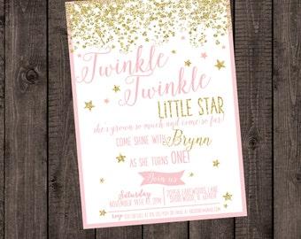 Twinkle Twinkle Little Star, Pink Birthday Invitation, Glitter Birthday Invitation, Blush and Gold Birthday, Sparkle Birthday Invitation