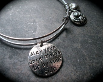 Angel adjustable wire bangle bracelet May Your Angel be by your side Memorial Sympathy gift Guardian Angel bracelet