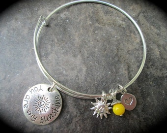 You Are My Sunshine Adjustable bangle bracelet with Sun charm and bright yellow glass dangle Gift for Daughter Niece Gift
