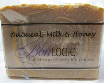 New Oatmeal, Milk & Honey Scented handcrafted soap made with Olive Oil by Bon Logic