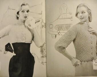 Knitting Pattern Book, Vintage 1956 Bernat, 21 Bulky Styles Jackets Sweaters, Bernat Handicrafter Book 51, Retro 50s