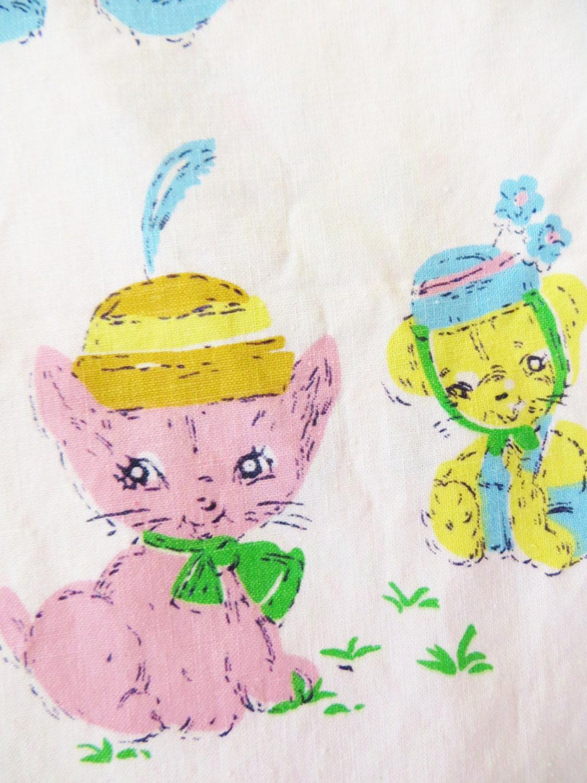 Vintage 50s juvenile novelty fabric indian head cotton for Vintage childrens fabric prints