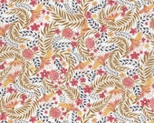 NEW SEASON Fat eighth Delilah B Liberty print, mustard and coral exotic bloom floral Liberty of London tana lawn