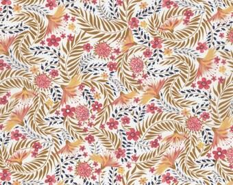 NEW SEASON Fat eighth Delilah B Liberty print, mustard and coral exotic bloom floral Liberty of London tana lawn