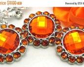 ON SALE Rhinestone Buttons-10 Orange Plastic Acrylic Rhinestone Buttons 26MM 3185-40R.