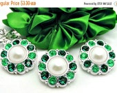 ON SALE 3 White Pearls With Emerald Green And Bright Green Surrounding Rhinestone Buttons 25mm.