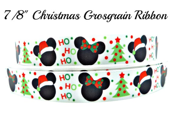 Christmas Mickey And Minnie Mouse Grosgrain By
