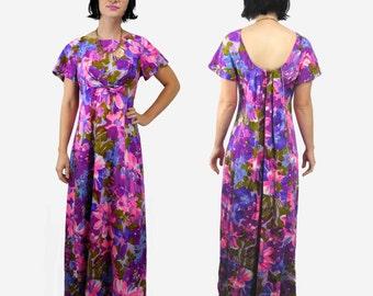 1960s vintage floral maxi dress / Hawaiian lounging muu muu hostess dress /  Kimo's Polynesian Shop / size 10
