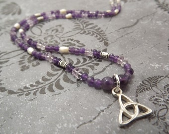 Amethyst and Fresh Water Pearl Celtic Beaded Necklace