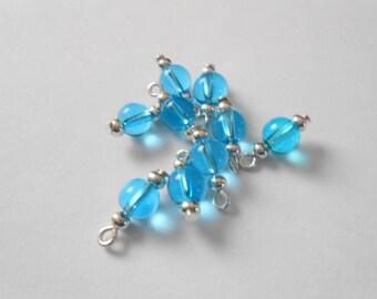Sky Blue Transparent Druk Dangle Beads