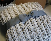 "NEW~ Bulky Chenille Fisherman Throw Blanket - Easy Crochet PATTERN 60"" x 44""/(152 x 112) cm - PDF 4460"