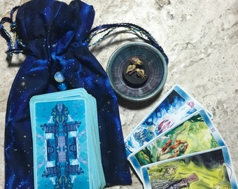 Hippy/Festival/Crystal/Yogi/420/Boho Travel Tarot Crystal Bag/Sack/Pouch in Blue Cosmic print.