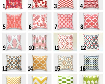 ONE Throw Pillow Cover. You Choose. CLEARANCE 20 X 20 Inch. Accent Pillows. Red, Pink, Yellow, Orange, Green.