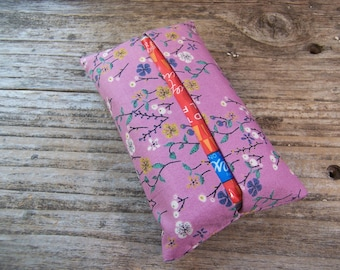 Kleenex travel tissue case in purple fabric with flowers , pocket tissue holder, travel tissue, kleenex case in purple, small gift