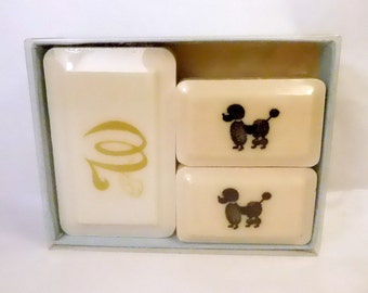Vintage POODLE Dog Soap - Katherine Gray, Inc. - U.S.A. - W Monogram - Fun Bar Soap with Box