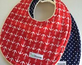 ORGANIC Nautical Anchors Bib Set Two Organic Cotton Terry Red White Blue Eco-Friendly