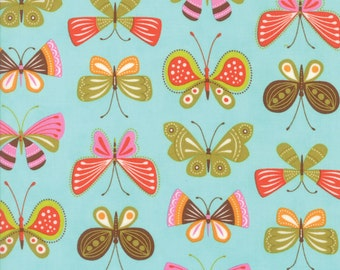 Colorful Butterfly Fabric in Aqua - Wing & Leaf by Gina Martin from Moda - Fat Quarter