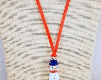 Snowman Christmas Necklace, Snowman Necklace, Winter Necklace, Holiday Snowman Jewelry, Handmade Christmas Necklace. CKDesigns.us