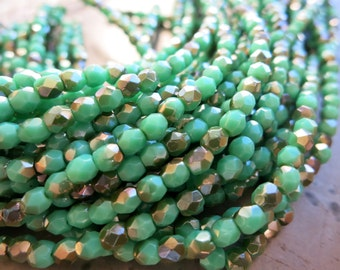 3mm Czech Glass Beads, Green Turquoise Celsian, Faceted Firepolished Beads, Full Strand of 50 Beads