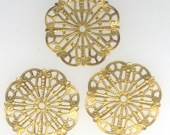 Gold plated filigree pendant set of 3 : item # 2513