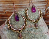 Regal. Hammered Artisan Boho Copper Drop Earrings with Wire Wrapped Purple Chalcedony, Champagne Quartz, and Gold Pyrite Gemstones-Gypsy Art