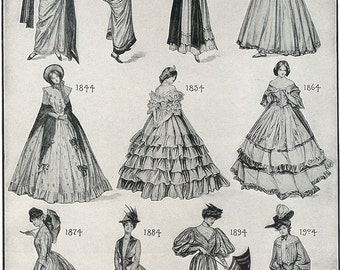 Vintage fashion from the 1800s chart, digital download